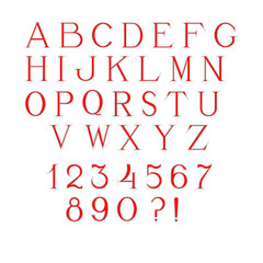Simple and elegant handcrafted alphabet with red fill