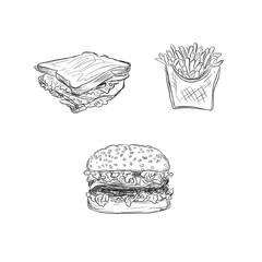 fast food set, sketch style, vector illustration