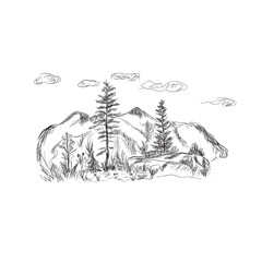 nature, mountains, sketch style, vector illustration