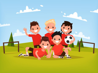 Children's football team. Boys playing football outdoors. Vector
