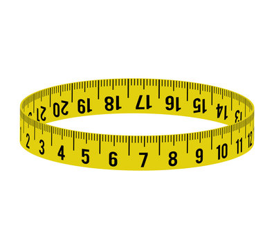 meter circle yellow tape measure tool icon. Isolated and flat illustration. Vector graphic