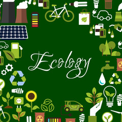 Eco background with recycling, save energy icons