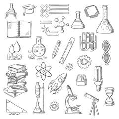 Science and education sketch symbols