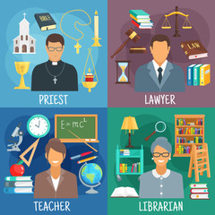 Teacher, lawyer, librarian and priest symbols