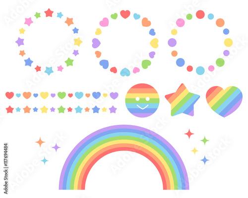 ポップでかわいい虹レインボーカラーのイラスト素材 セット アイコン