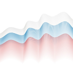 Background of white, blue, red wavy lines. Stylized flag of Russ