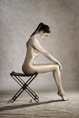 Ivory painted body paint make up model female portrait