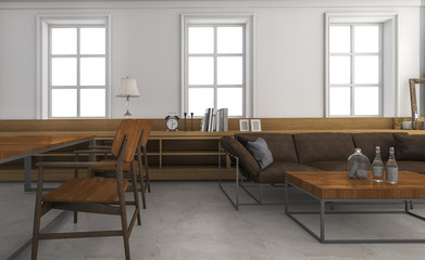 3d rendering wood furniture and built in shelf in loft style living room