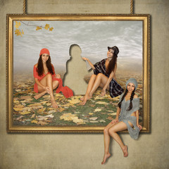Three girls are painted in the picture. One of them went out of it and sat down on the frame.