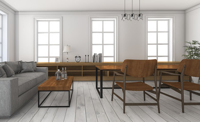 3d rendering wood furniture in loft style room with dining table
