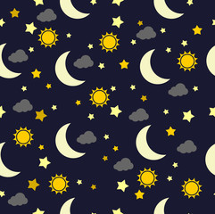 Moon sun and cloud pattern vector