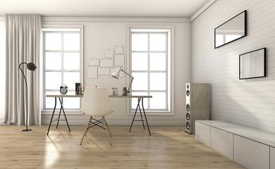 3d rendering white vintage living room in summer