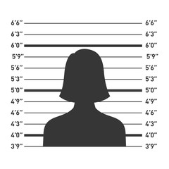 Police Lineup with Woman Silhouette. Vector