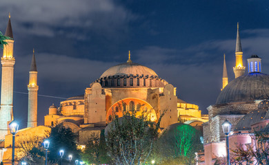 Magnificence of Hagia Sophia Museum at night, Istanbul, Turkey