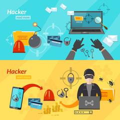 Banners hacker hacking mobile computer virus vector
