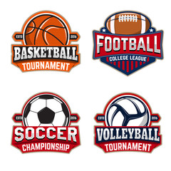 Set of basketball, football, soccer, volleyball labels templates