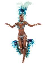 Dancing african female in pretty costume.