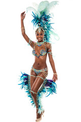 Female samba dancer dancing.