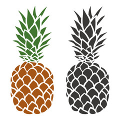 Pineapple in color and silhouette illustration vector