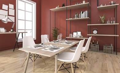 3d rendering red vintage dining room with decoration