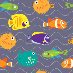 Seamless background with cute marine fish on the waves