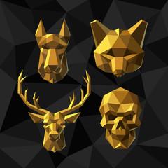 Vector illustration Golden animals Polygon style.