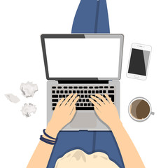 Girl with laptop. Seen from above, plan view. Concept of home office, surfing the Internet, writing and freelance.