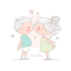 Girl kissing a boy, illustration