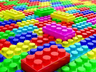 plastic building blocks. 3d render