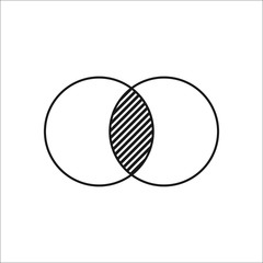 Geometry math two circles symbol simple icon on background