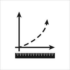 Math graphic with coordinates with ruler symbol simple icon on background