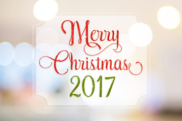 Merry christmas 2017 red and green glitter word on white frame a