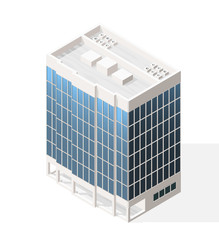 Isometric High Quality City Element with 45 Degrees Shadows on White Background. Skyscraper.