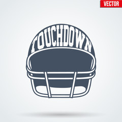 Sports symbol helmet of American football with typography