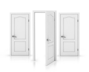Closed and doors Isolated on White Background