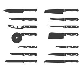 Set of steel kitchen knives icons carving, paring, and utility sharp tool cooking equipment collection. Sharp kitchen knife icon vector illustration isolated on white background