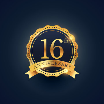 16th anniversary celebration badge label in golden color
