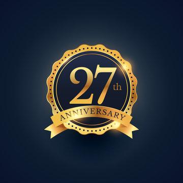 27th anniversary celebration badge label in golden color