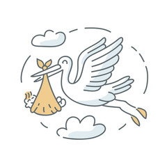Stork and baby icon illustration