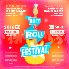 Vintage poster of Rock and roll festival. Hot burning rock party. Cartoon Design element for poster, flyer, emblem, logo, sign. Vector design element.
