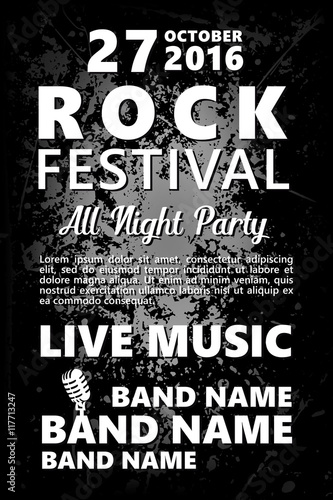 black and white vintage rock festival design template with crowd on