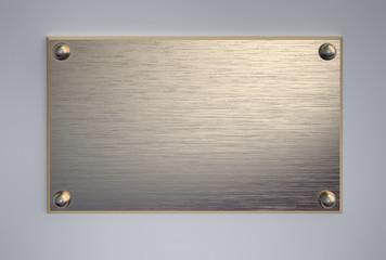 Metal signboard with screws