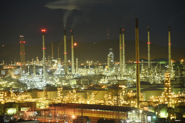 Oil refinery industry in twilight time, Thailand
