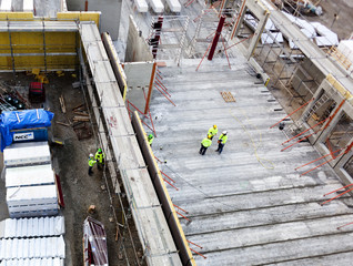 High angle view of workers at construction site at Malmo, Sweden