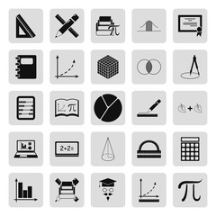 Math and geometry simple icon set on background