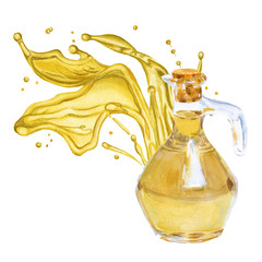Olive oil in the bottle. A splash of oil. Isolated. Watercolor i