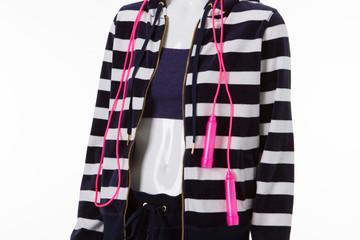 Striped sweatshirt with zipper.