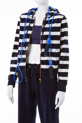 Navy pants and striped hoodie.