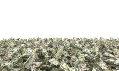 1,2,5,10,20,50,100 dollar bills on the ground. 3d illustration