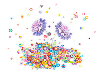 Paper quilling,colorful paper flowers